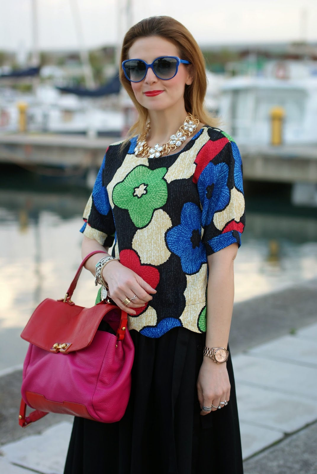 Blackfive floral print cropped blouse, Marc by Marc Jacobs bob's trip to Memphis bag, Fashion and Cookies, fashion blogger