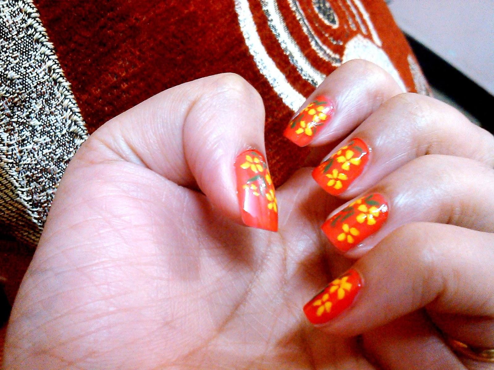 Red And Yellow Flowers By Nail Art Made Simpler Gimmemore