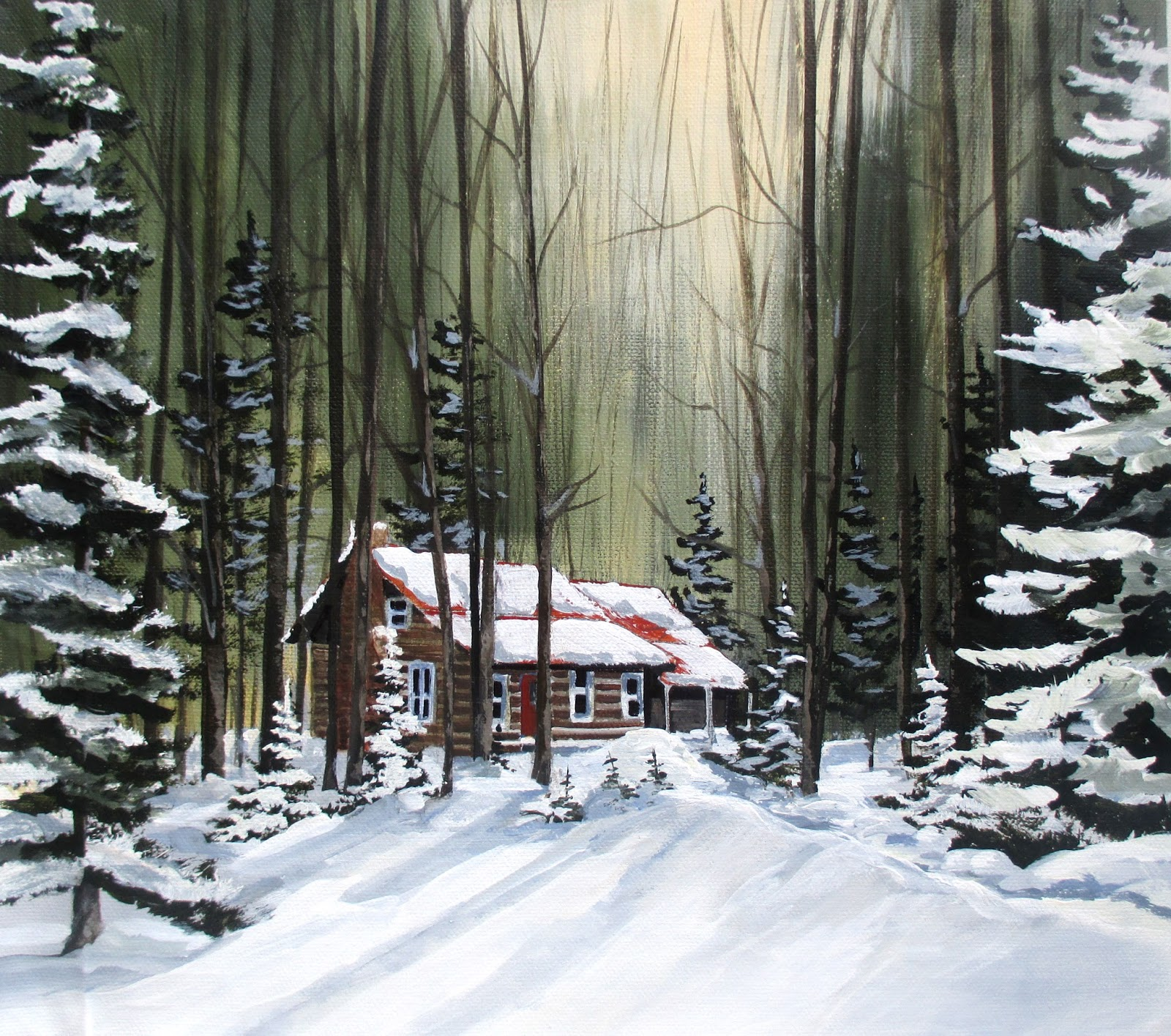 Log cabin in the woods painting - I Will Probably Never Own My Log House In The Woods But Thankfully Through The Gift Of Art And Creativity I Can Live In One And Escape To One Whenever I
