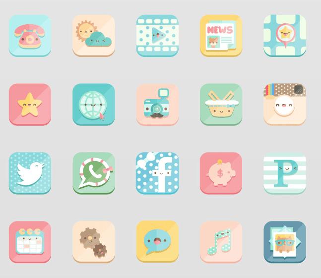 Kawaii icons set for Zedge app