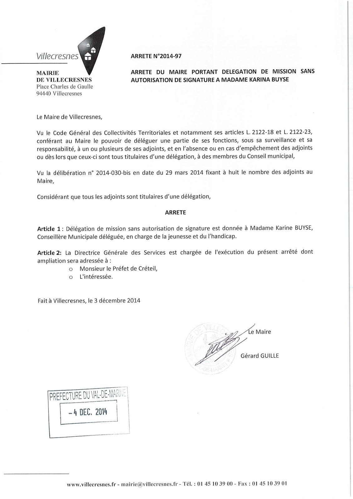 2014-097 Délégation de fonction mission sans autorisation de signature à Madame Karina Buyse