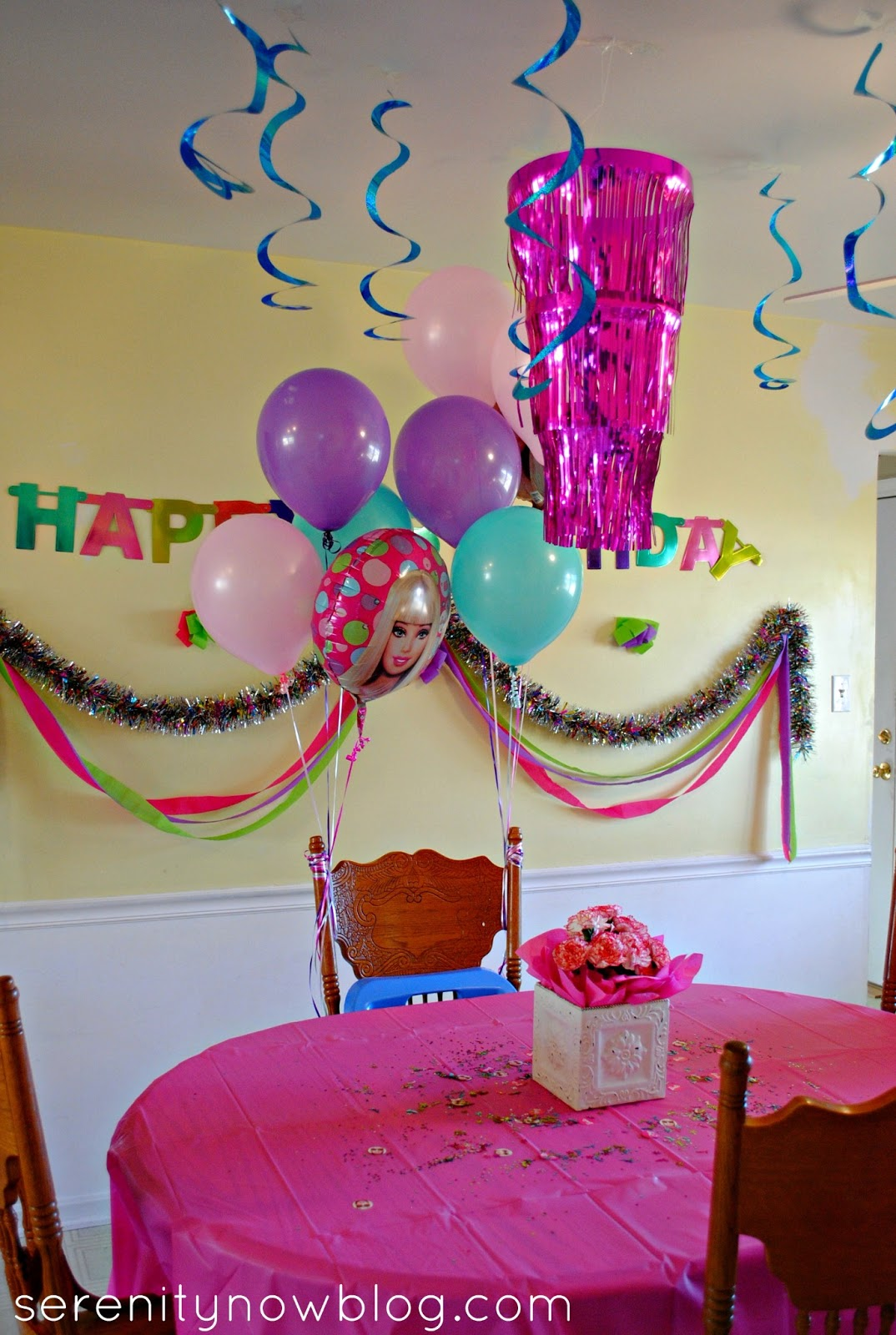 Party Decorations At Home home birthday party decorations Throw A Barbie Birthday Party Serenity Now Throw A Barbie Birthday Party At Home