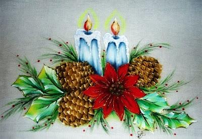 pintura em tecido motivo natalino pinha