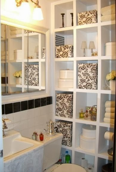 Modern furniture 2014 small bathrooms storage solutions ideas for Small bathroom decorating ideas photos