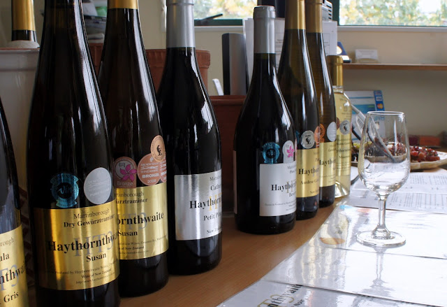 Selection of wines to taste at Haythornthwaite Vineyard - Martinborough