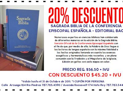 20% DE DESCUENTO EN LA SAGRADA BIBLIA CEE - EDITORIAL BAC EN PAULINAS PUERTO RICO