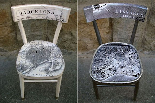 decoupage krzesła podróże DIY