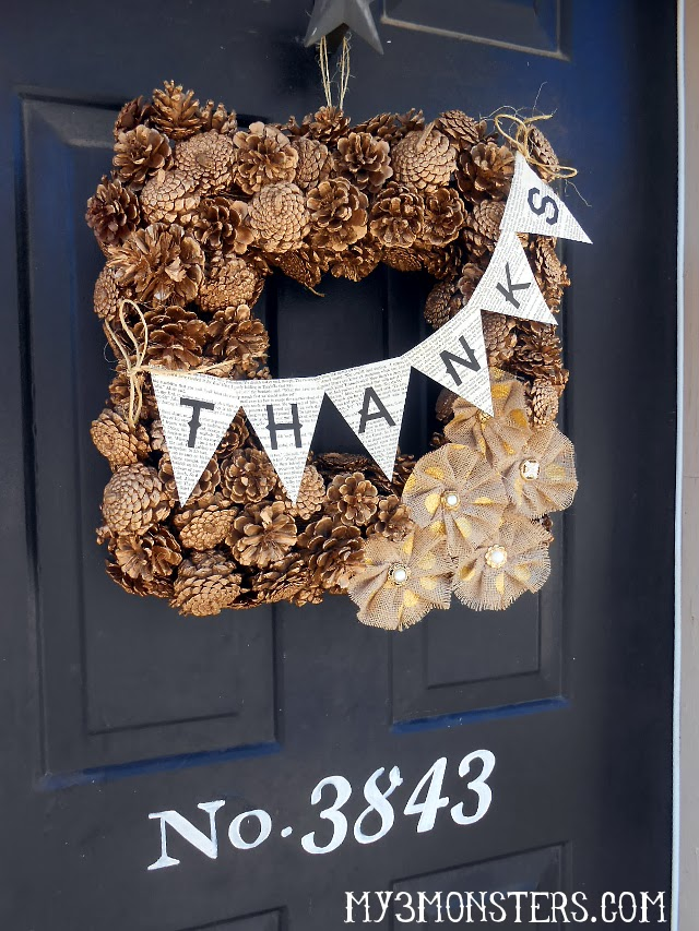 DIY Gilded Pine Cone Thanksgiving Wreath at my3monsters.com