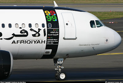 close up of the current Afriqiyah livery explaining the 9.9.99 motif.