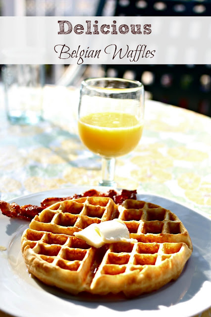Belgian waffles made with Carbon's Golden Malted Waffle Flour via www.goldenboysandme.com