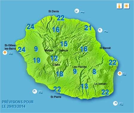 Prévisions météo Réunion pour le Samedi 29/03/14