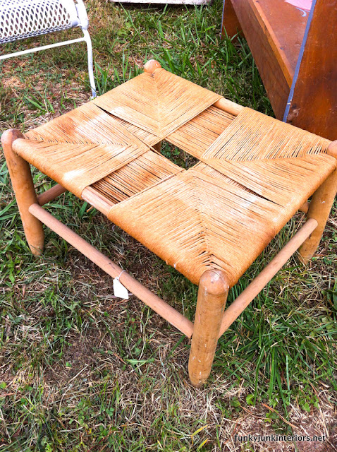 old woven stool