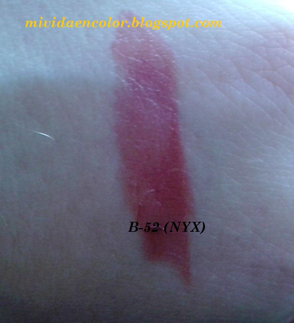 haul-reseña-review-opinión-swatch-labial-pintalabios-B52-nyx-barra-redonda
