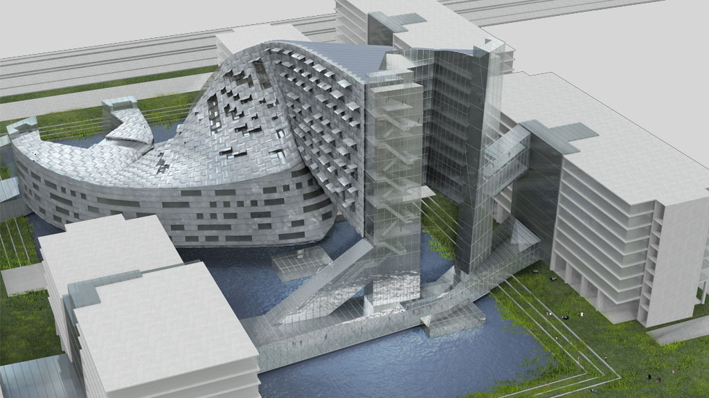 Unbuilts sustainable office building spiretec greater for Moss building design