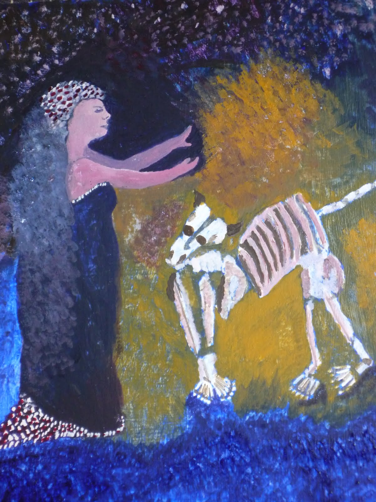 ... egg tempera painting of La Loba/Wolf Woman the collector of bones