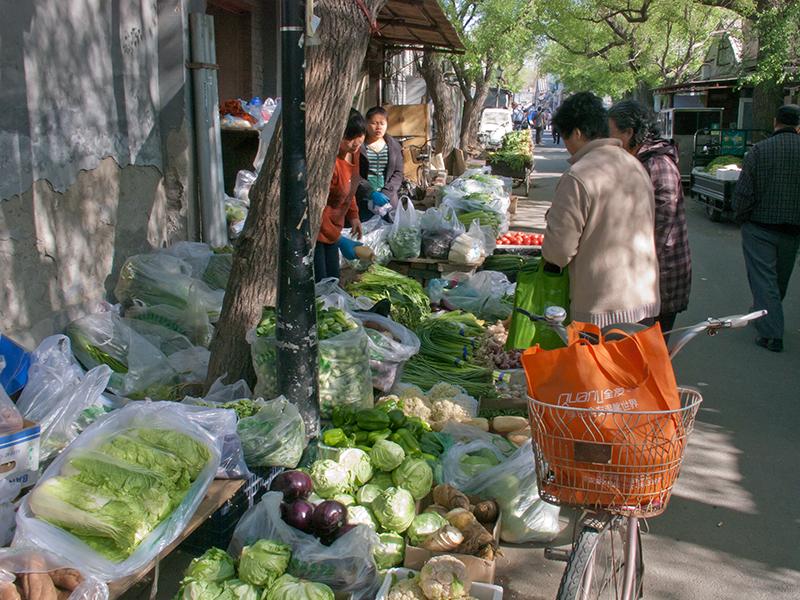 Marché dans un hutong à Pékin