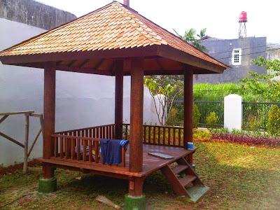 Contoh Saung Gazebo Lesehan Taman Minimalis