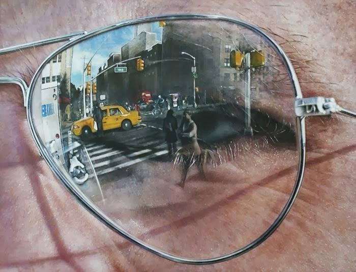 artist has created a set of hyper-realistic paintings of famous landmarks around the world which appear to be reflected in the lenses of a pair of sunglasses.