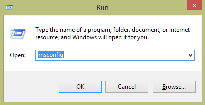 msconfig in windows run prompt