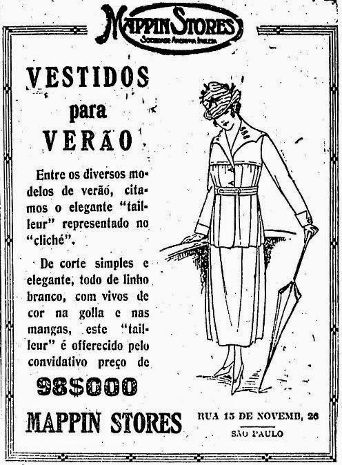 Moda feminina para o calor em anúncio do Mappin publicado no jornal 'O Estado de São Paulo' em 1918
