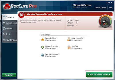 RegCure Pro-Click to Start Scan