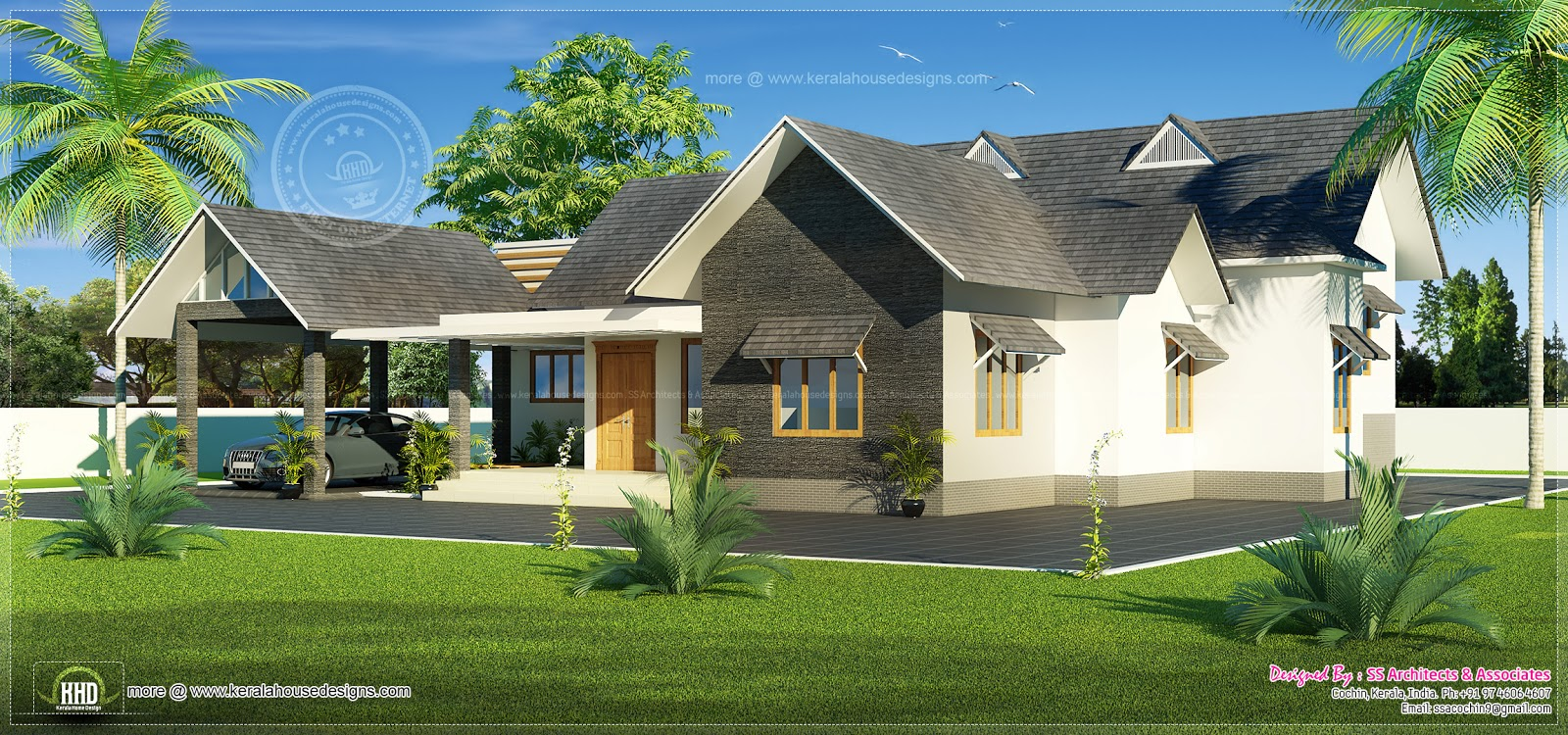 Bungalow house design in 2051 sq.feet