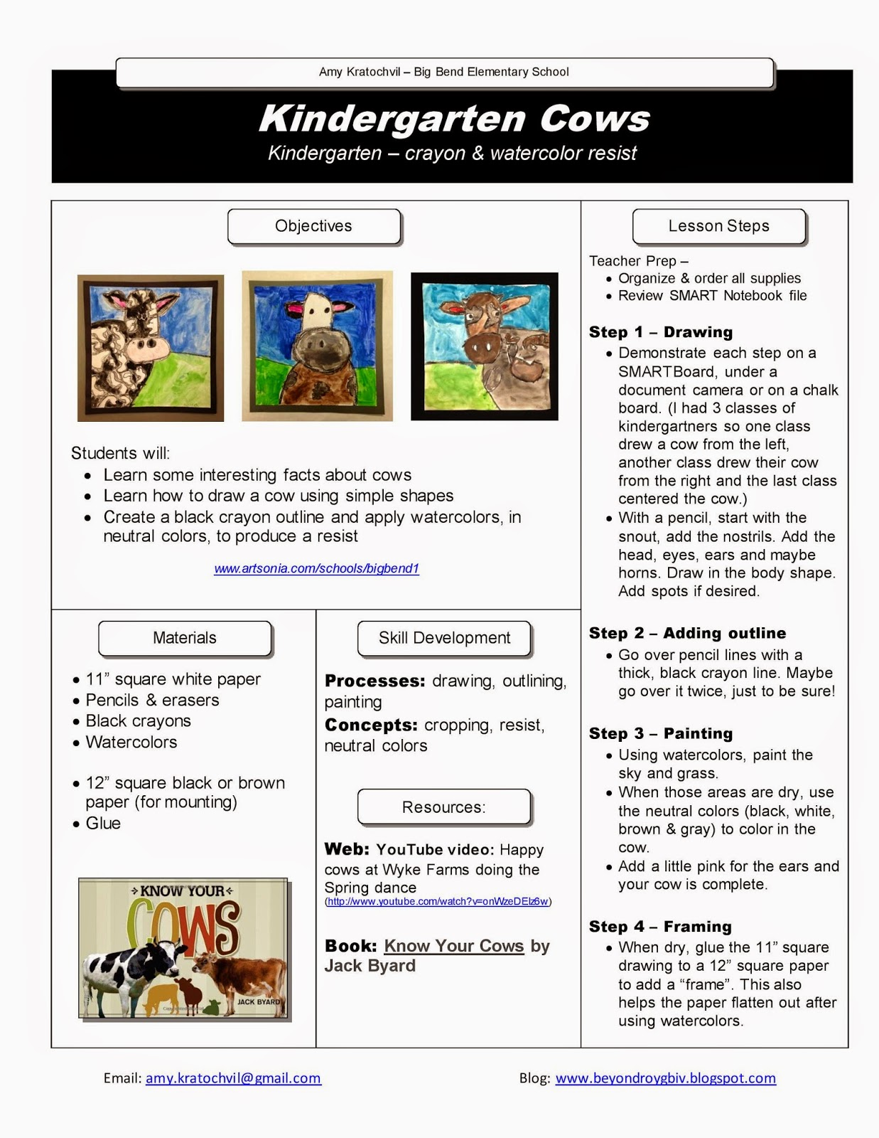 beyond roy g biv free lesson plan 1 kindergarten cows