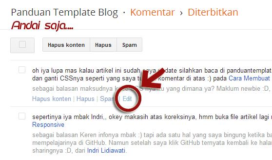 Fitur Baru Menu Edit Komentar Blogger