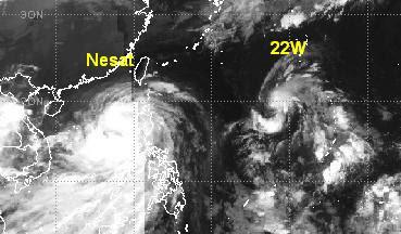 NESAT hält Taifunstärke - NALGAE schon unterwegs, Nesat, Nalgae, Philippinen, Taifun Typhoon, Taifunsaison, 2011, September, Oktober, aktuell, Verlauf,