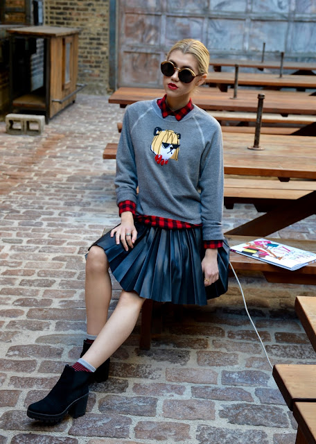 donald robertson, bow and drape, leather skirt, leather, sweatshirt, plaid, fall, ootd, style blogger
