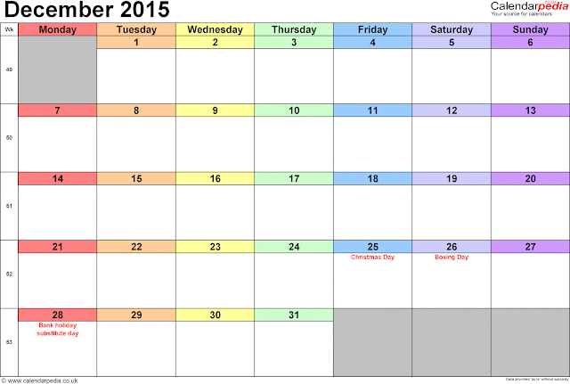 December 2015 Calendar With Holidays