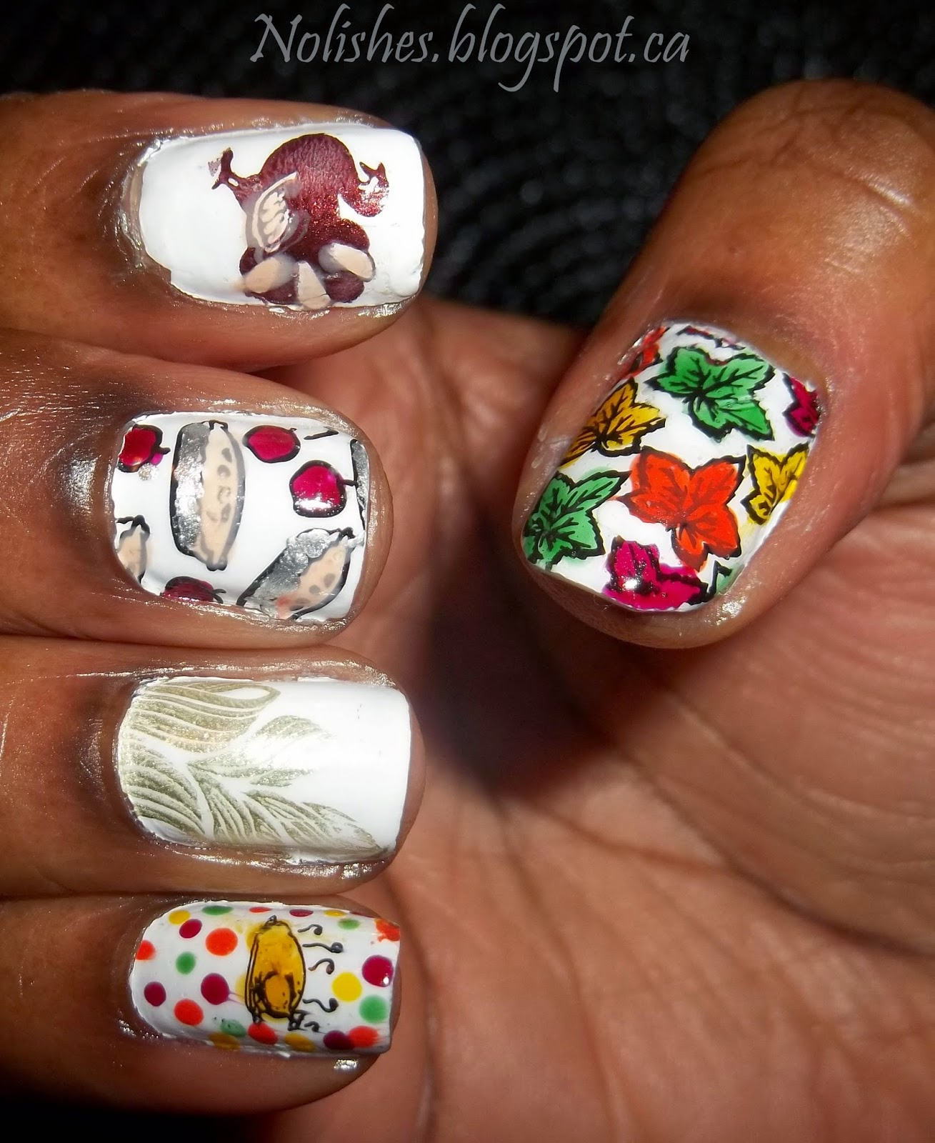 Thanksgiving Themed Skittles Nail Stamping Manicure Using Konad Special Polish in Black, China Glaze 'White on White', China Glaze 'Ravishing, Dahling', Essie 'Capri', Nfu Oh Jelly Syrup Series polishes NFU JS20, NFU JS34, and NFU JS39, Sally Hansen Color Foil 'Yellow Gold', Sally Hansen Insta-Dri 'Silver Sweep', OPI 'Samoan Sand', and DRK Nails 'Metallic Brown'. Stamped using Bundle Monster Plates BM-H11, BM-H13, and Winstonia Plate W119