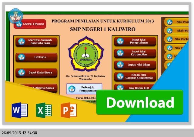 Aplikasi Raport SMP Kurikulum 2013 dengan Excel - Penilaian dan Pengisian