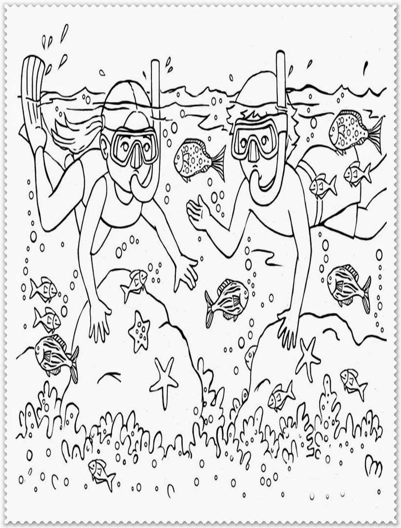 snorkling in summer coloring pages