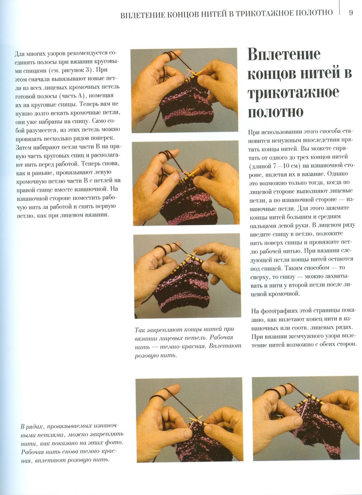 Нить за работой в вязании спицами