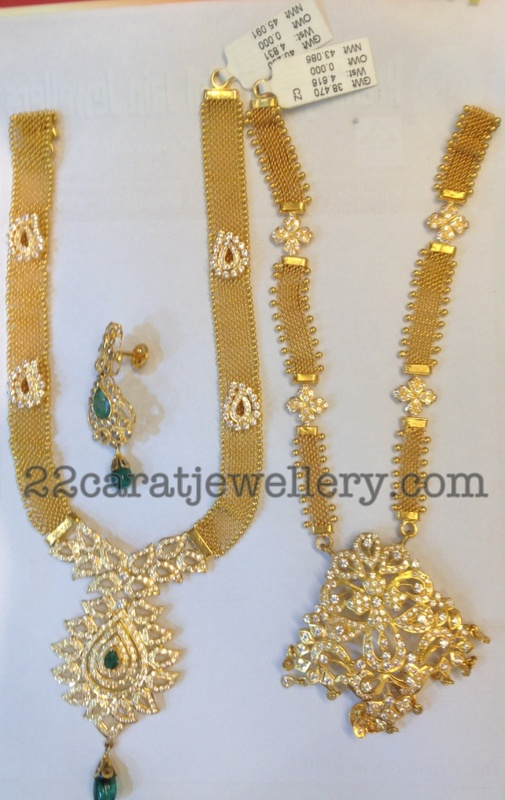 Gold And Cz Necklaces 40 Grams Jewellery Designs