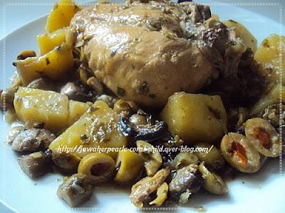 طاجين البطاطا الفطر و الزيتون بالدجاج،وصفة مرق بالدجاج