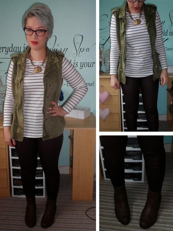 New Look Breton Stripe Top, Zara Khaki Gilet, New Look Burgundy Disco Pants, New Look Ankle Boots