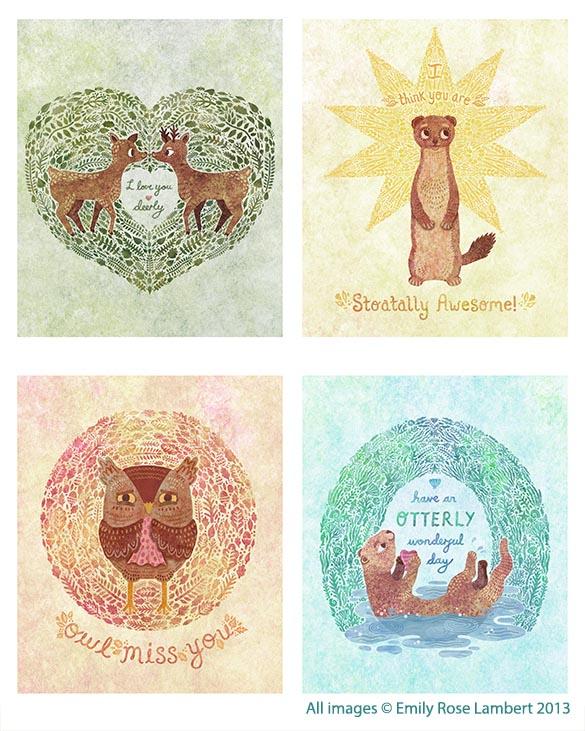 Image of: Couples Decorative animal Pun Card Designs Emily Rose Illustration Emily Rose Illustration Decorative animal Pun Card Designs