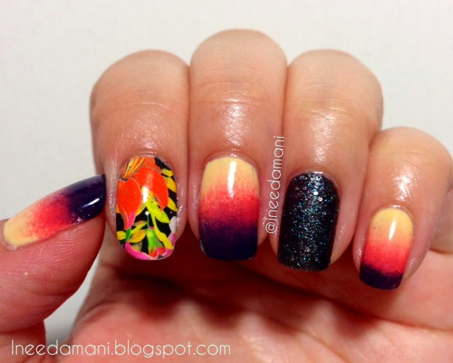 hawaii floral sunset nails