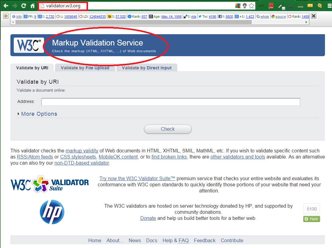 W3C Free Tool for HTML5 Markup Validation 1