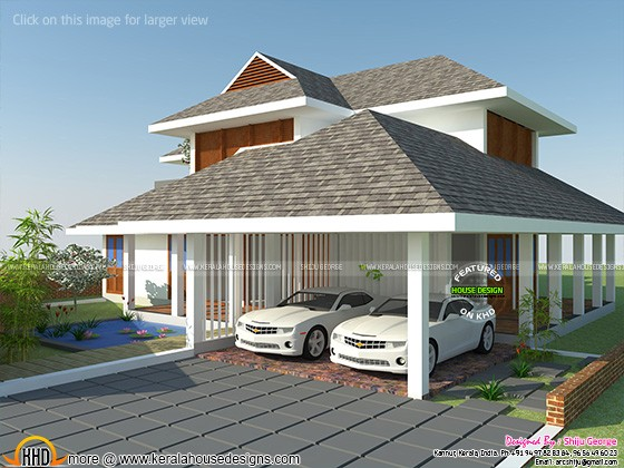 Sloping roof G+1 Residence
