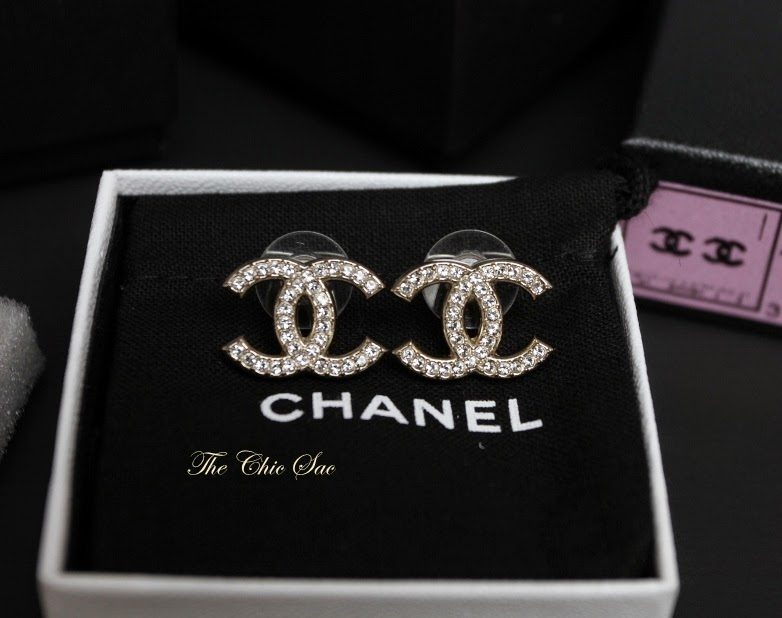 100% Authentic & Brand New Chanel Large CC Crystal Earrings