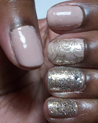 Manicure featuring neutral tones jazzed up with stamping in gold on the middle finger, and gold/silver glitter combo on the ring and pink fingers. There is also a clear rhinestone accenting the ring finger.
