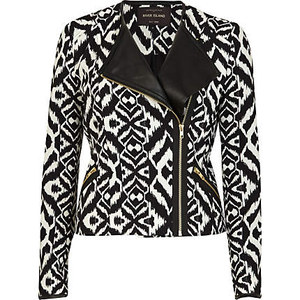 Frankie Sandford, Gold, Jacket, Monochrome, Print, River Island, The Saturdays, Tribal Print,