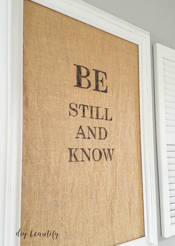Make a fabulous burlap sign featuring your favorite verse! See more at diy beautify.