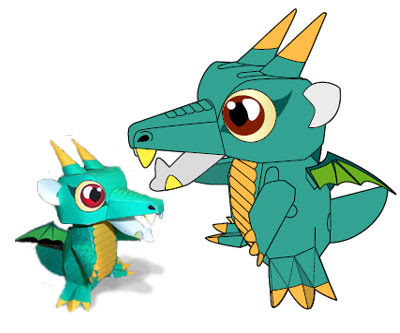 green dragon paper toy