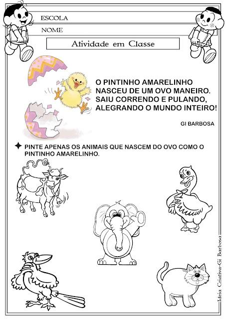 Atividade Aves- Pintinho Amarelinho