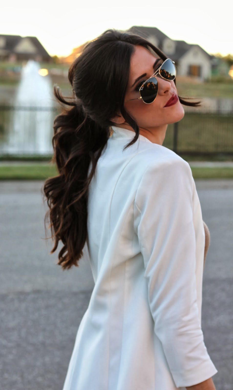 ponytail, brunette ponytail, curly ponytail, the sweetest thing hair, ponytail pinterest, fall 2013 ponytail, white blazer, emily ann gemma, gold raybans, hair idea, taupe phillip lim pashli, 3.1 phillip lim, phillip lim pashli