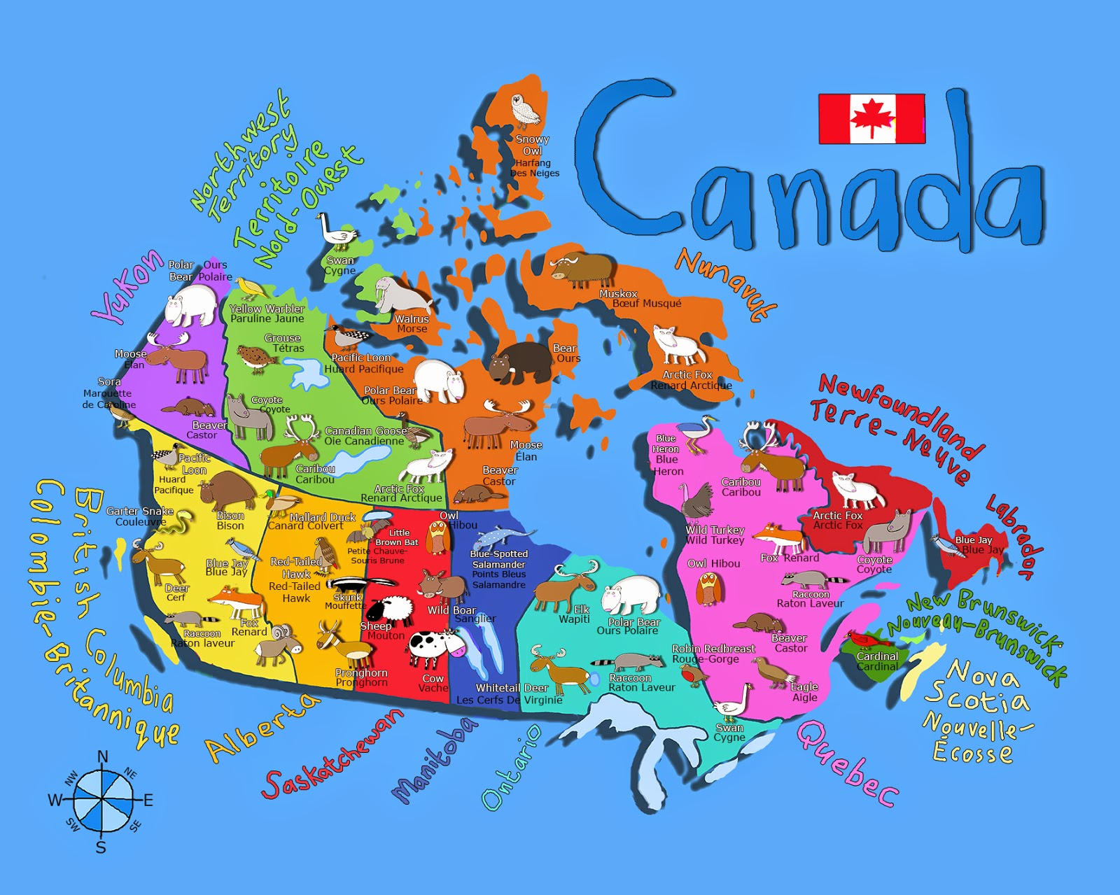Atlas Map Of Canada Kids - Canada map